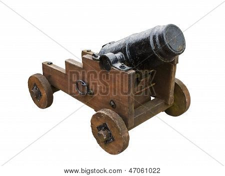Stumpy Seige Cannon Isolated On White Background