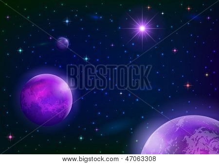 Space background with planets and star