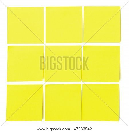 Set Of Yellow Paper Sticky Stickers