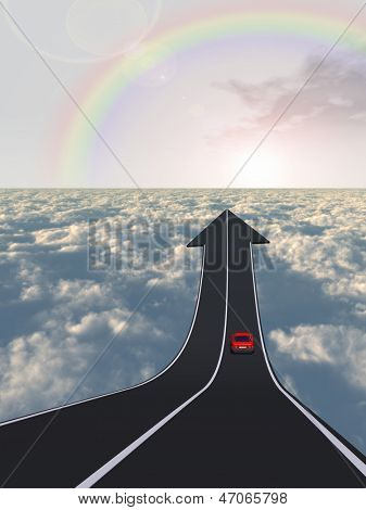 Concept or conceptual business arrow road with a car driving pointing up above the clouds in the sky rainbow background