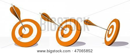 High resolution concept or conceptual orange darts set target board with an arrow in the center isolated on white background