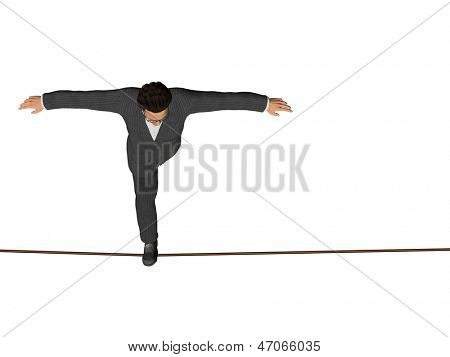 High resolution concept or conceptual 3D human male or businessman walking on rope isolated on white horizontal background