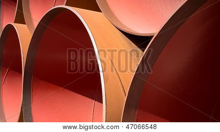 A Stack Of Large Pipes