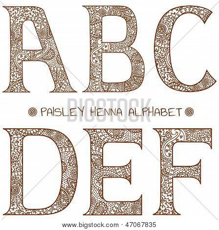 Paisley Henna Alphabet