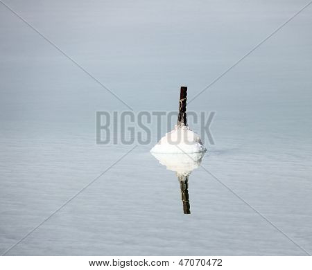 Dead Sea. The Metal Rod Gradually Becomes Covered With Salt