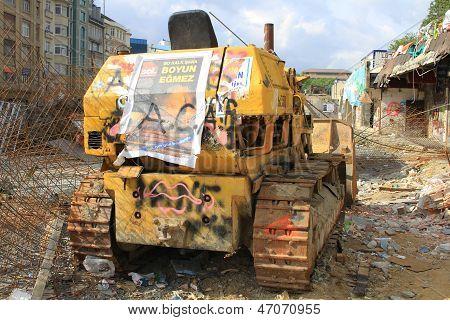 Destroyed buldozer