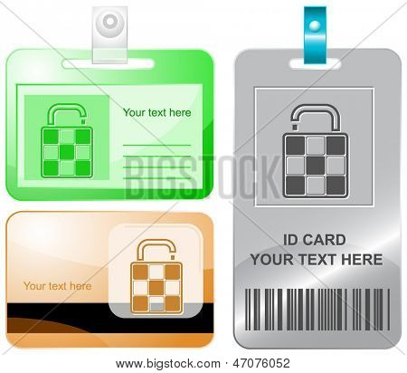 Bag. Vector id cards.