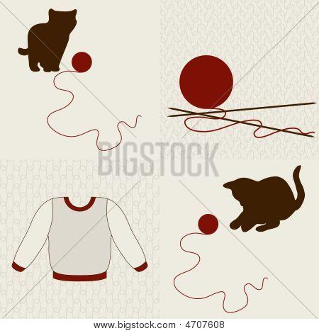 Wolle-Objekte und Kätzchen festgelegt.