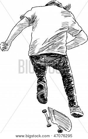 Bouncing Skateboarder