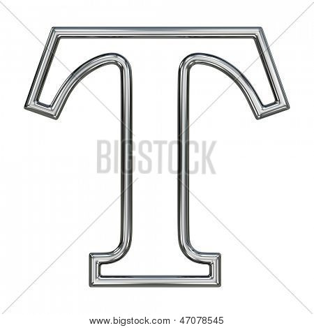 alphabet symbol T with chrome pipe outline