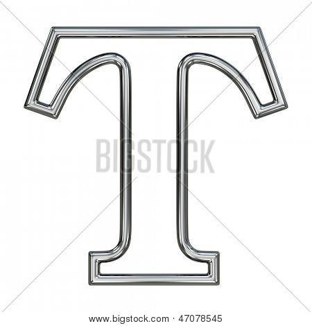 alphabet symbol T with chrome pipe outline