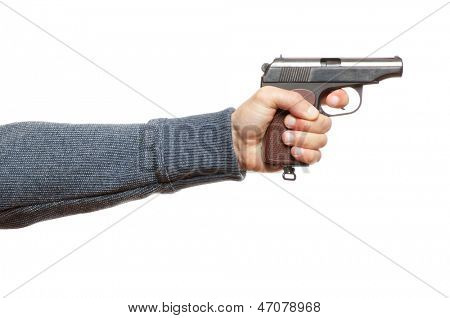 gun in the man's hand, isolated on white
