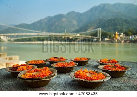 Puja flowers offering for the Ganges river in Rishikesh, India