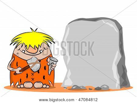 Cartoon Caveman with Hammer