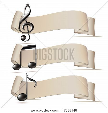 Set of banners with music icons.