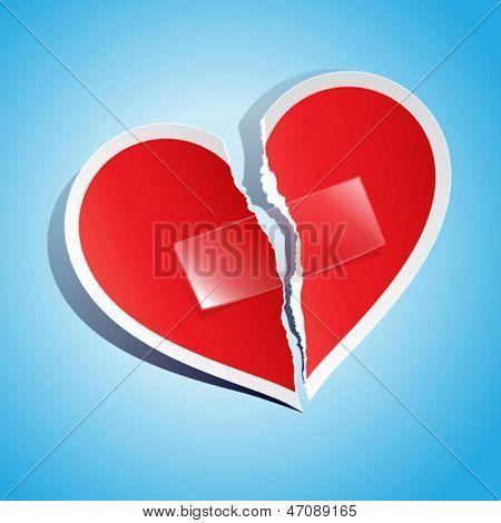 Ilustração em vetor de um coração de papel rasgado, fixada com fita
