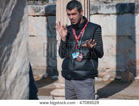 Ephesus, Turkey - December 25: Guide Tells Tourists About Ephesus History