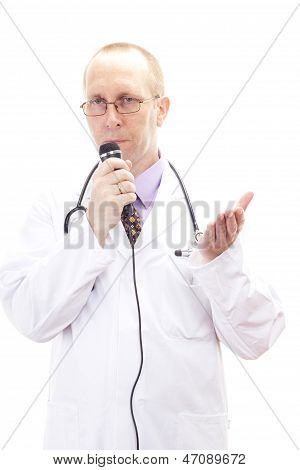 Male Medical Physician Holding Speech