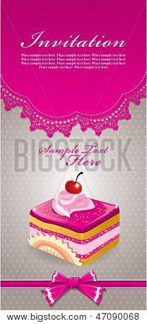 Vintage retro cute cupcake invitation design template