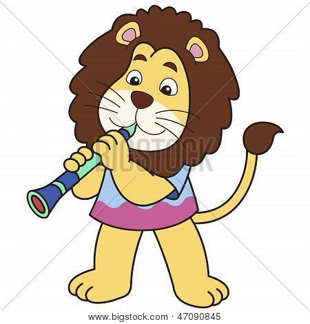 Cartoon Lion Playing A Clarinet