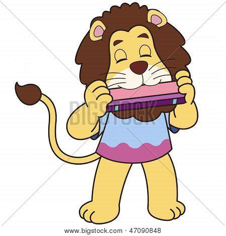 Cartoon Löwe Mundharmonika spielt