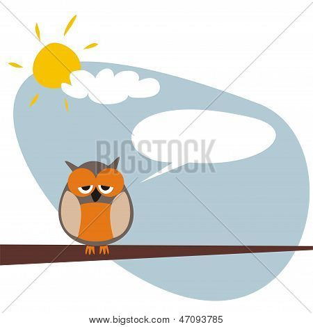 Sweet and funny sleepy talking owl on the tree at sunny day after hard night vector illustration