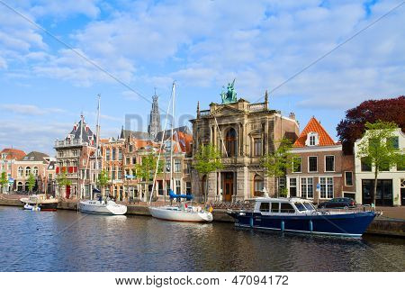 houses over canal in old Haarlem, Holland