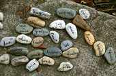 Array Of Stones With Buddhist Messages Of Peace And Well-being