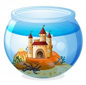 image of fishbowl  - Illustration of a castle inside a fishbowl on a white background - JPG