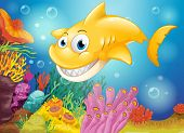 Illustration of a smiling yellow shark under the sea