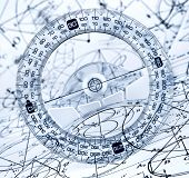 pic of protractor  - Protractor on the background of mathematical formulas and algorithms - JPG