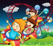 Illustration of the three kids riding in a roller coaster