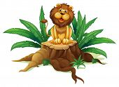 Illustration of a  lion sitting on a stump with leaves on a white background