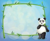 Illustration of a panda beside a framed bamboo tree