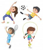 stock photo of spherical  - Illustration of the two young girls exercising and two young boys playing on a white background - JPG