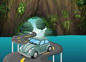 picture of long winding road  - Illustration of a curve road passing through the cave - JPG