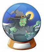 foto of witch ball  - Illustration of a witch inside the crystal ball on a white background - JPG