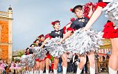 NOVI SAD, SERBIA - JUNE 7:  Majorettes carnival procession  Zmaj children's games on June 7, 2013 in