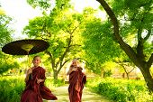picture of eastern culture  - Two little Buddhist monks running outdoors under shade of green tree - JPG