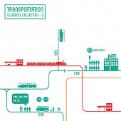 Transportation infographics - graphic elements collection 2, bus routes & train station
