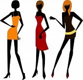 picture of street-walker  - Vector illustration of beauty three fashion girls - JPG