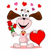 stock photo of dog-rose  - A cartoon dog with red roses  - JPG