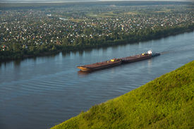 stock photo of kama  - The barge on the Kama River, Russia