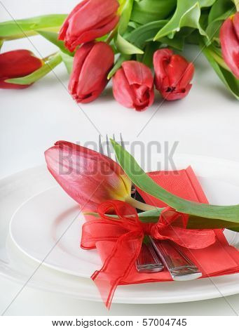 Fine Table Setting With Tulip - Spring Time