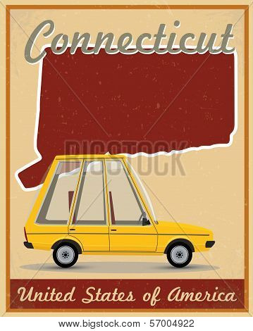 Connecticut road trip vintage poster