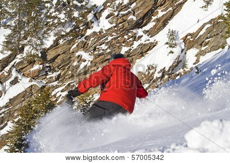 Male Skiing In Sloping Position