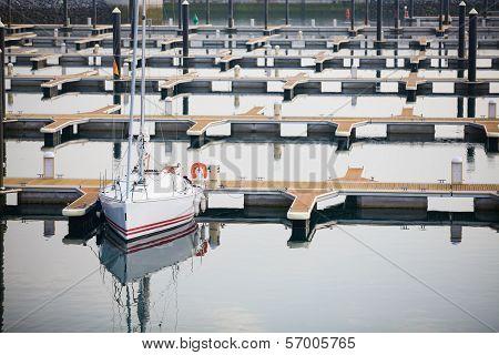 Single Yacht In Harbor Of Laredo, Spain