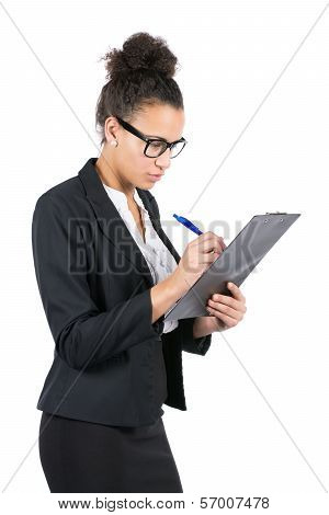 Young Office Worker Uses A Clipboard