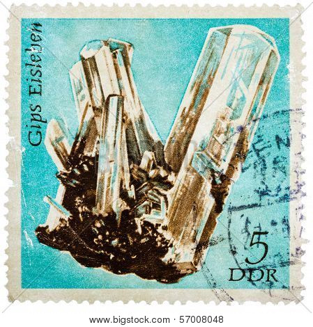 Stamp Printed In German Democratic Republic (east Germany) Shows Semiprecious Stone Gyps