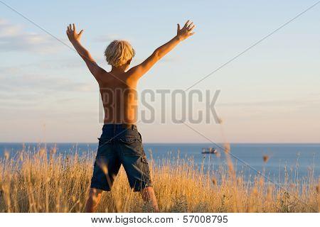 Boy Having Stretched Hands